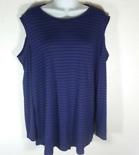 Womens XL Cold Shoulder Long Sleeve Tunic Top Purple Black Stripes