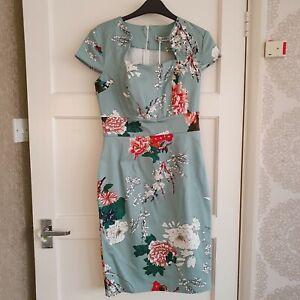 Brand New Grace & Karin 1950s Vintage Floral Sweetheart Neck Dress Size S (UK 8)