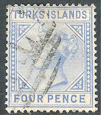 Turks & Caicos 1881 ultramarine 4d crown CC Die II fine used SG50