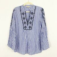 Ann Taylor LOFT Striped Blue Embroidered Floral Bell Sleeve Top Blouse Rayon XS