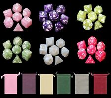 6 NEW Sets Marbled Polyhedral Dice - Enchanted Dreams 6 Colors with Bags - RPG