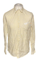 Men's HUGO BOSS Casual Shirt Yellow White Striped Large 100% Cotton