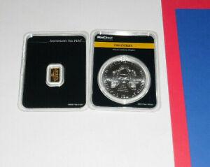 1 oz Silver American Eagle 2021 First Strike Coin + 1 Gram Gold Bar Apmex Assay