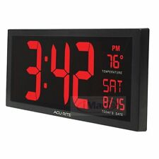 Acurite 18-inch(45cm) Large Digit Calendar Wall/TableTop Clock with Indoor Tempe