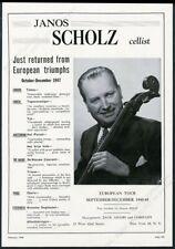 1948 Janos Scholz photo cello recital tour booking trade print ad