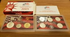 2005 US MINT SILVER PROOF SET W/COA AND EX BOX 11 COINS W/ 5 STATE QUARTERS