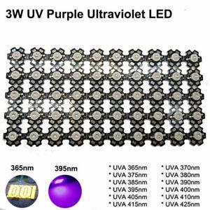 3W UV Purple LED 365nm 375nm 380nm 385nm 395nm 405nm 410nm 420nm with 20mm PCB