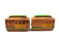 "San Francisco Cable Car Vintage Ceramic 2 1/2"" Salt & Pepper Shakers"