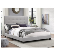 King Size Platform Bed Frame Upholstered Headboard Tufted Beds Wood Frame Gray