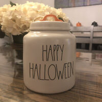 Rae Dunn HALLOWEEN White/off White Large Canister Happy Halloween  2020 Release