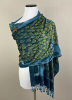 Peacock Feathers Floral Sheer Blue Sequened Velvet Scarf Wrap  Venice Italy