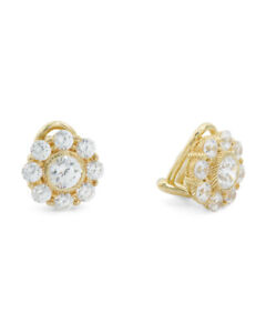 JUDITH RIPKA 14k Gold Plated Sterling Silver Cz Flower Stud Earrings