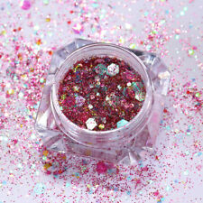 1g Rose Red AB Color Nail Sequins Powder Hexagon Iridescent  Paillette
