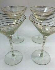 "Set Of 4 Vintage Mid Century Elegant Gold Striped Martini Glasses 8"" Tall"