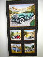 Fabric Exclusively Quilters Classic Cars  Antique Cars Panel