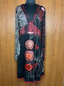 Desigual Womens Black Multi Print Textured Dress Longsleeve Appique Dress Sz SM