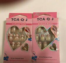 TCA.Q.J AIRBUSH NAILS 24 PCS DESIGNED Acrylic Nail tips LOT OF 2