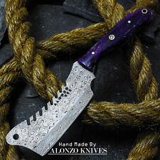 ALONZO USA CUSTOM HANDMADE DAMASCUS MINI CLEAVER  KNIFE CORELON HANDLE 16497