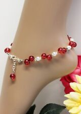 Glass Jewels Silber Fußkettchen Perlen Sommer 2 Reihig Rot Weiß Variabel #J086