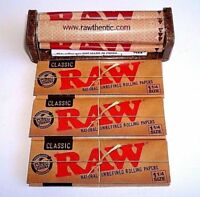 3 PACKS RAW ROLLING PAPERS 1 1/4 SIZE + CIGARETTE ROLLER Rolling Machine 79mm