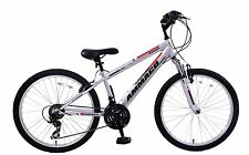 "Ammaco Aspen 24"" Wheel Boys MTB Bike Front Suspension Silver 21 Speed 14"" Frame"