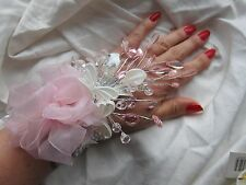 Pink & Silver Wrist Corsage Prom Wedding Flowers Crystal Diamante Butterfly