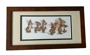 Needlepoint Baby Bunnies Mother Rabbit Carrot Framed Completed Baby's Room Decor