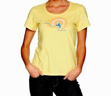 Life Is Good Women Medium Yellow Crusher Scoop Neck Bear Rabbit Buddies T-Shirt