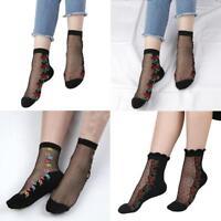 Women's Lace Crystal Glass Silk Short Thin Transparent Rose Socks Spring Summer