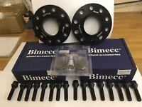 2x 15mm, 2x 20mm Black Bimecc Wheel Spacers, Black Bolts, Locks, Audi A4, A5, A6