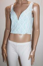 Malala Co Designer Blue White Sweetheart Crop Top Size L BNWT #SV38