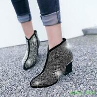 Womens Rhinestone Ankle Boots Mid Block Heel Round Toe Side Zip Party Shoes 2019