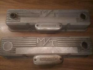 Mickey Thompson M/T Valve Covers Finned Offenhauser Breather Small Block Chevy