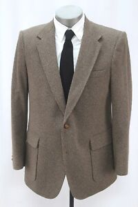 mens brown VINTAGE HERRINGBONE TWEED blazer jacket sport suit coat haggar 44 R
