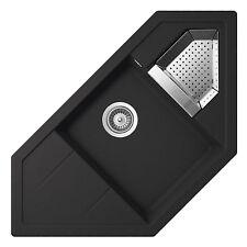 SCHOCK Primus C-150 Onyx Schwarz Eckspüle  Spüle Granitspüle  Resteschale