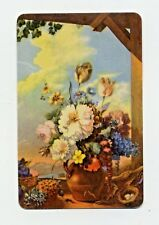 Still Life Flowers with Birds Nest /  Vintage FLORAL SWAP Trading Playing CARD