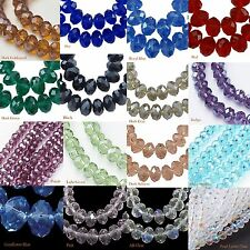 8mm Faceted Crystal Glass Beads Pearl Luster Rondelle LUSCIOUS SPARKLE