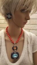 "Heidi Daus ""Super Chic"" Crystal & Enamel Drop Necklace and Earrings"