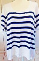 Lane Bryant Plus Size Black and Blue Stripe On White Top 26/28W  New
