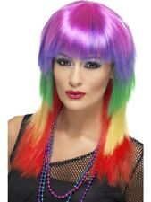 80's Multi-Coloured Rainbow Rocker Wig Adult Womens Smiffys Fancy Dress Costume
