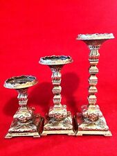 "Antique Vintage Metal Silver  Candle Holders Set of 3, 6 3/4"",5 1/4"" and 3 3/4"""