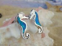 REAL 925 STERLING SILVER inlaid blue Opal post Seahorse earrings