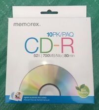 CD-R Memorex 10 New Cds with sleeves Music Mp3 CD Memorex 52x 700mb 80min