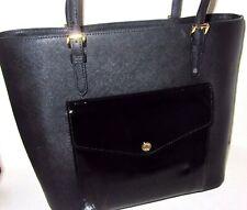 Michael Kors Black Leather Jet Set Large Patent Leather Pocket Tote NWT $268