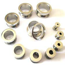 Piercing Plug Screw Stainless Steel Flesh 0 1/16in-1 3/16in Ear Tunnel Silver