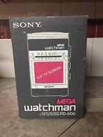 Vintage SONY MEGA watchman, Black & White TV FM/AM Receiver, FD500, Charcoal
