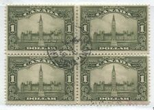 Canada KGV 1929 $1 Parliament block of 4 used