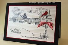 Impression Obsession WINTER FARM cling mounted stamp, made in USA