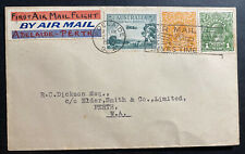 1929 Adelaide Australia Ffc First Flight Airmail Cover To Perth Wa