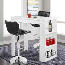 3 Level Storage Bar Table Breakfast Cocktail Bar Desk Melamine Finish White